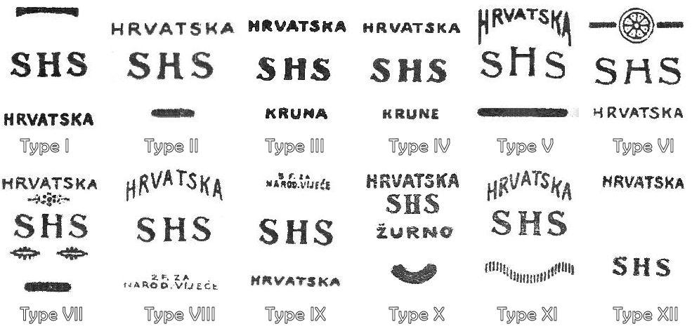 SHS Hrvatska Overprint Types