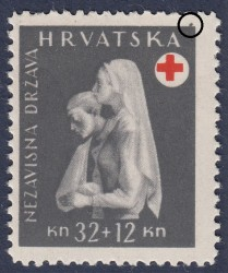 ND Croatia 1943 Postage stamp error: Gray dot above the frame
