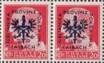 Provinz Laibach, overprint error: Additional feather on the right wing
