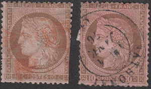 France, postage stamp Ceres, types: Small and large numerals