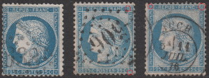 France, postage stamp Ceres, types: Types 1, 2 and 3