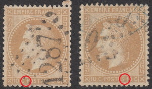 France, types of postage stamps, Napoleon III: Small and large dots