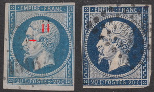 France, types of postage stamps, Napoleon III: Type 1 and Type 2, distinguishable by hairlines