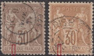 France, postage stamp Sage, types: N under B and N under U