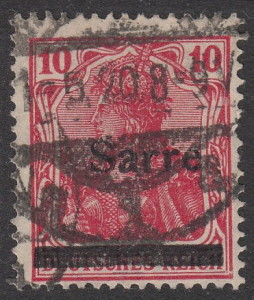 Germany Sarre postage stamp misaligned overprint error