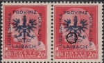 Provinz Laibach, overprint error: Dot under the left leg
