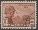 Croatia, stamp plate error: Colored spot in front of soldier's nose
