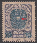 German-Austria coat of arms stamp flaw: 10 krone, short vertical lines on the lower part of the shield