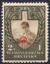Croatia, stamp plate error: Dot on the worker's left hand