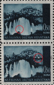 Colored dot on the waterfall (the upper stamp)