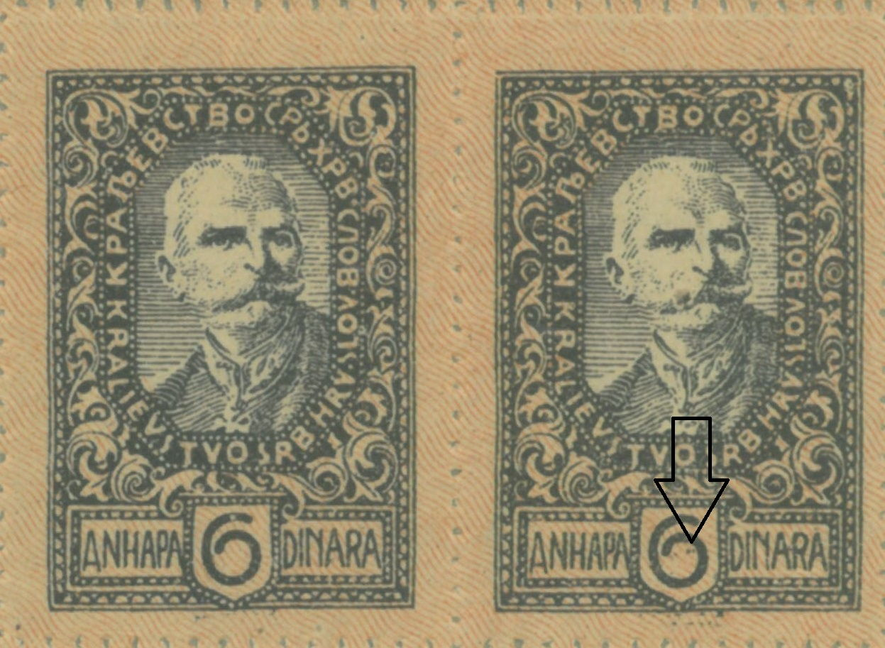 Two colored dots in numeral 6 in denomination