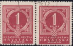 NDH Croatia, postage due error: White circle on top of the letter A in HRVATSKA