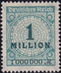 Germany, stamp plate error: broken rosette 1 million
