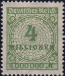 Germany, stamp plate error: broken rosette 4 million