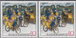 Germany, stamp day plate error: Vertical black line on railing of the first tricycle