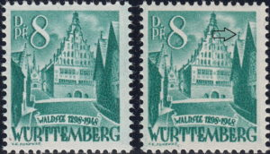 Württemberg postage stamp: Waldsee Rathaus, Types I and II