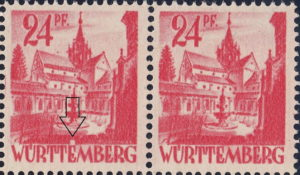 Württemberg postage stamp plate error: Big white dot above the first letter E in WÜRTTEMBERG