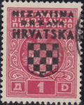 Croatia 1941 stamp overprint error the lowest field in coat of arms not filled with color