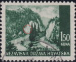 Croatia postage stamp error: Colored spot on the mountain in the center
