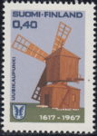 Finland stamp error: Colored dot on the right frame, next to the windmill