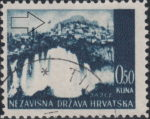 Croatia postage stamp plate error: Curved colored line in the sky