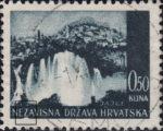 Croatia postage stamp plate error: Indentation in the lower frame, below letter Z in NEZAVISNA