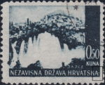 Croatia postage stamp plate error: White dot after the second letter A in HRVATSKA