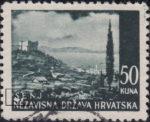 Croatia postage stamp plate error, 50 kn, Senj: Two white dots below letters SE in SENJ