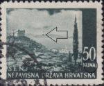 Croatia postage stamp plate error, 50 kn, Senj: colored dot on the island