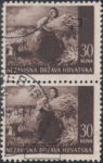 Croatia postage stamp 30 kn, Srijem: white spot on sheaf of wheat