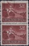 Croatia postage stamp plate error, 3.50 kn, Trakoščan: thunderbolt