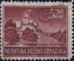 Croatia postage stamp 3.50 kn, Trakoščan: spot next to numeral 3