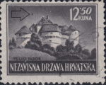 Croatia postage stamp 12.50 kn, Veliki Tabor: Colored spot above the roof
