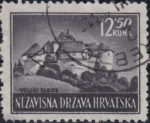 Croatia postage stamp plate error 12.50 kn, Veliki Tabor: White spot on the left wall of the left tower