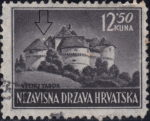 Croatia postage stamp plate error 12.50 kn, Veliki Tabor: White circle above the roofs of the castle and colored C-shaped line next to the right tower