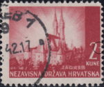Croatia postage stamp plate error: Horizontal crack in the right frame next to numeral 2