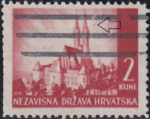Croatia postage stamp plate error: Colored dot in the sky next to the right tower