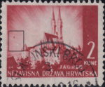 Croatia postage stamp plate error: Colored and white dot next to the left frame