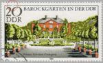GDR postage stamp error: baroque gardens Weimar, Belvedere Orangerie broken frame