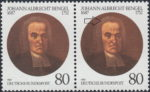 Germany 1987 postage stamp error: Dark spot in the wig to the left side
