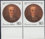 Germany 1987 postage stamp error: Broken outline to the left side of the collar