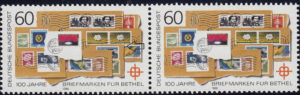Germany 1988 postage stamp error: Colored dot above the yellow flower