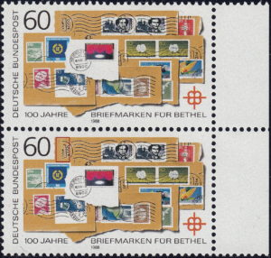 Germany 1988 postage stamp error: Circular cachet next to denomination to the left partially missing