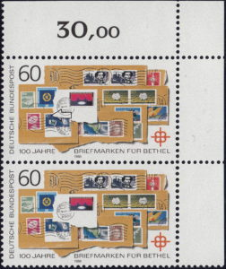 Germany 1988 postage stamp error: Red line next to denomination 80 on the blue stamp