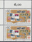 Germany 1988 postage stamp error: Letter F in FÜR broken