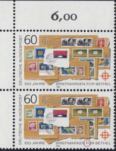 Germany 1988 postage stamp error: Letter F in FÜR broken