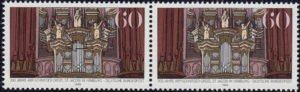 Germany postage stamp plate error: Big golden spot on the ledge below the angel to the left