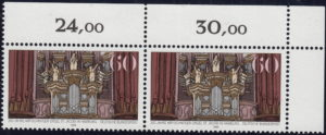 Germany postage stamp plate error: Scratch in the pillar to the left