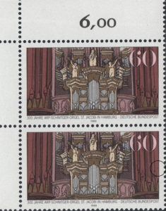 Germany postage stamp plate error: Dark line on the right frame