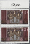 Germany postage stamp plate error: Damaged lower frame between letters JAHRE and ARP